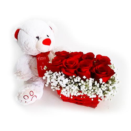 Cesto com Rosas + Ursinho Amo-te