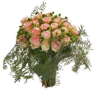 Bouquet de Rosas Cor de Rosa e Verde