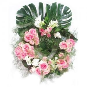 Coroa de Funeral com Rosas Rosa