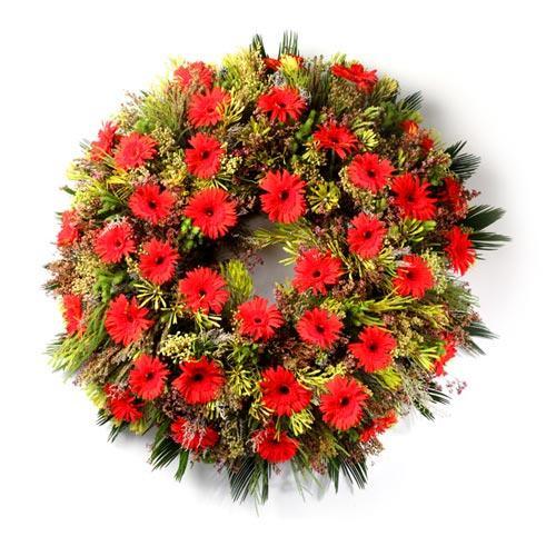 Coroa de Funeral com Margaridas Vermelhas